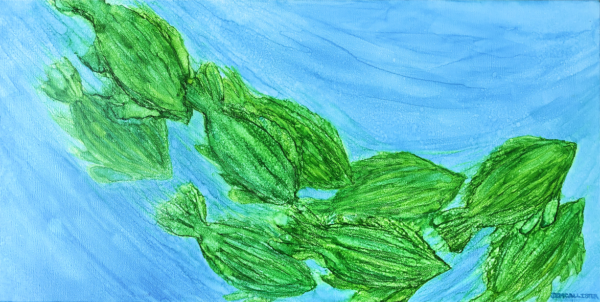 A school of green fish swimming from upper left to lower right, showing movement. Background Alcohol ink painting on canvasis light blue with streaks showing movement and lighter spots showing bubbles throughout painting.