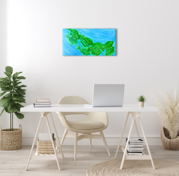 Fish painting on a light color wall with a desk and chair in front.