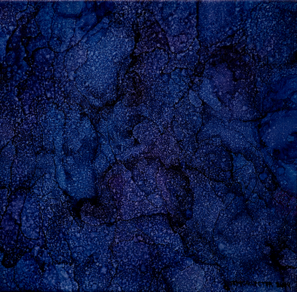 Alcohol ink painting on canvas of hues of dark blues and purples overlapping shapes and texture lines with lighter whiter spots throught.