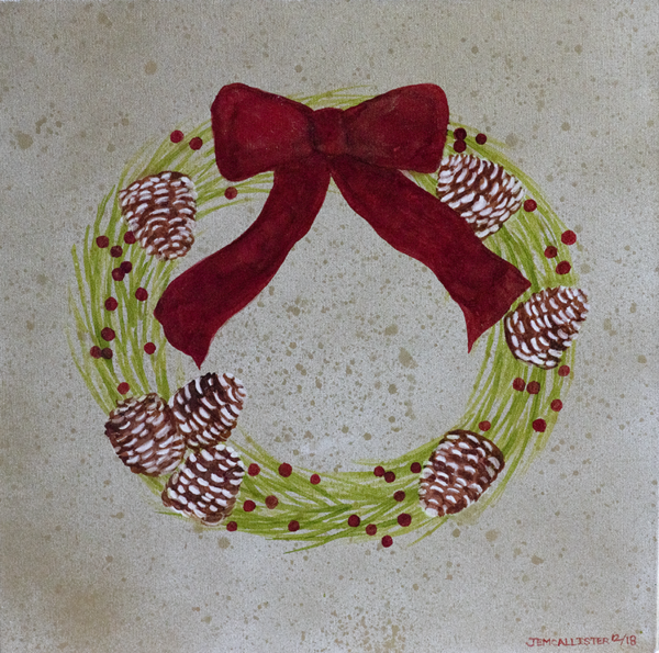 Gold splotchy alcohol ink painting with a holiday green wreath in center decorated with pincones and a large red ribbon on the top front of wreath