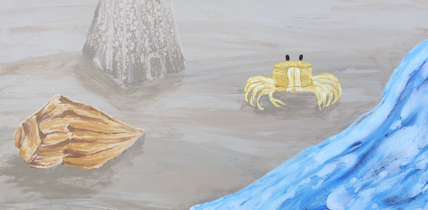 Fluid acrylic painting a closeup of a ghost crab at the beach near the shoreline, with a conch shell in the left corner foreground and a sandcastle a little in the background.