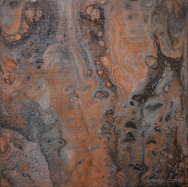 Fluid acrylic metallic painting on birch board: metallic black, gray, and copper painting with a lot of cell looking shapes.