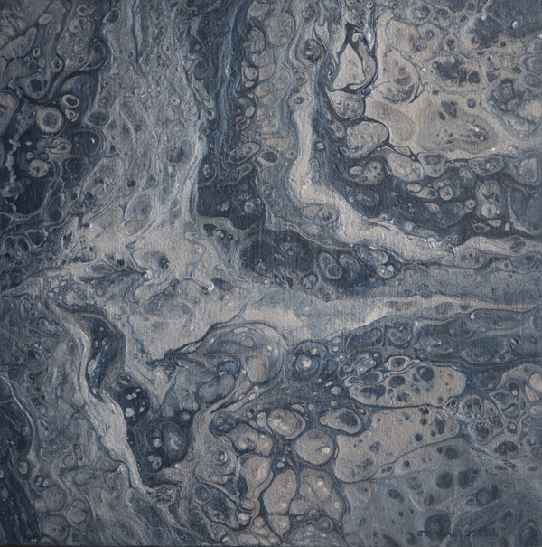 Fluid acrylic metallic painting on birch board: metallic muted blue, light blue, and silver abstract painting with a lot of cell looking shapes.