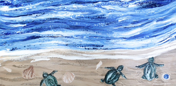 Fluid acrylic painting of looking down from above onto a beach shoreline. Three sea turtles headed to ocean with a few shells about