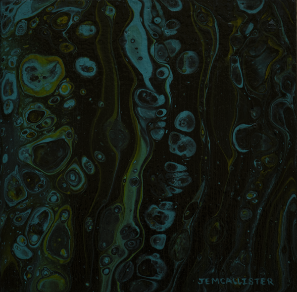 Fluid Acrylic painting on birch board dark muted green and blue round shapes and lines on black background