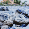 Photo print on metal of the perspective at a rocky shore line looking at the Green River in Utah